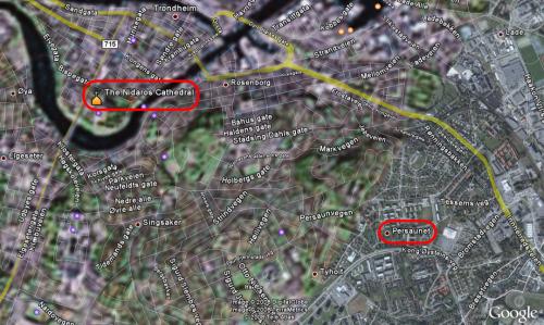 Trondheim i Google Earth