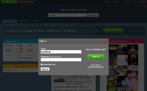 Netvibes bruker lightbox til innloggingen.