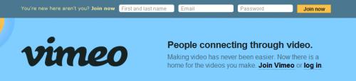 Eksempel på registrering av ny bruker hos vimeo.com