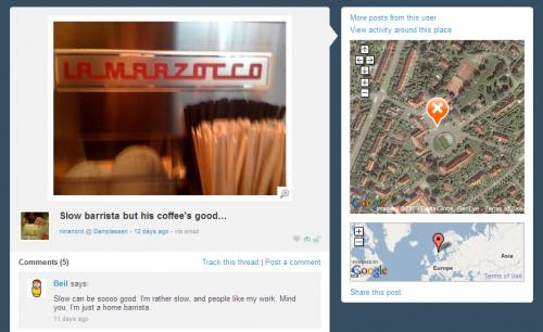 Brightkite, tips om god kaffe, Damplassen, Oslo