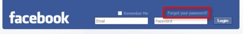 Eksempel på plassering av glemt passord-lenke hos facebook.